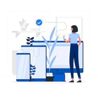Niebieska dziewczyna z urządzeniami technologicznymi stylu płaskiego