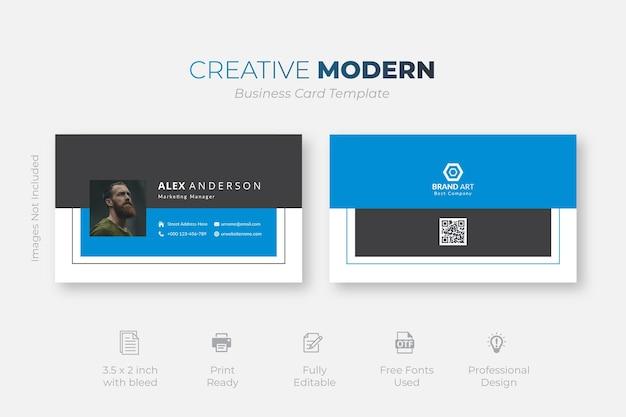Niebieska elegancka karta firmowa
