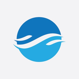 Niebieska fala logo wektor. projekt szablonu ilustracji fal wodnych
