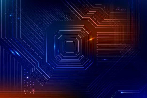 Niebieska futurystyczna technologia destrukcyjna danych w mikrochipach w tle