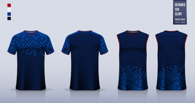 Niebieska geometryczna abstrakcyjna koszulka sportowa