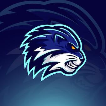 Niebieska głowa lwa e szablon logo sport