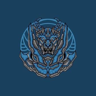 Niebieska głowa smoka w stylu robota mecha na koszulkę lub produkt do druku