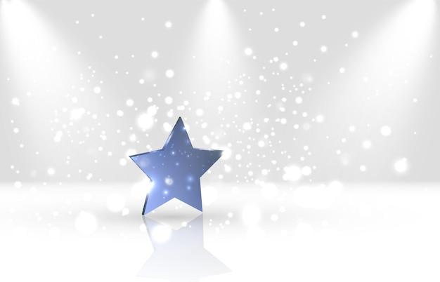 Niebieska gwiazda na białym błyszczącym tle
