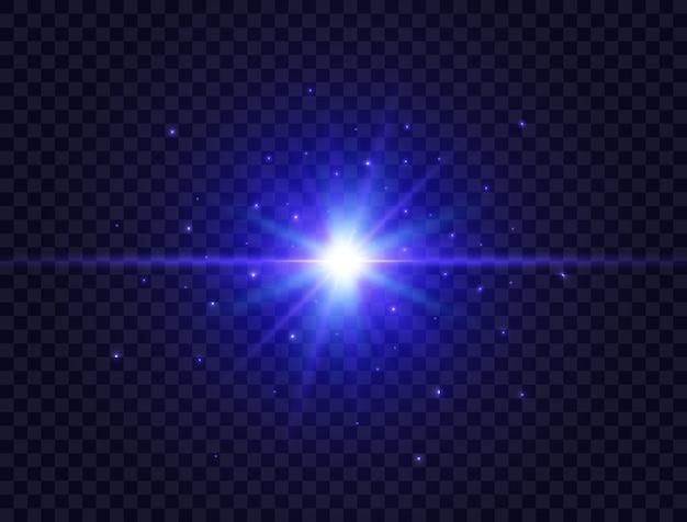 Niebieska gwiazda pękła z belkami i błyszczy na przezroczystym tle