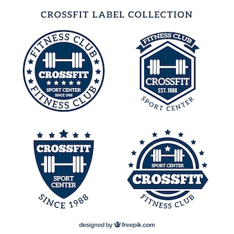 Niebieska i biała kolekcja etykiet crossfit