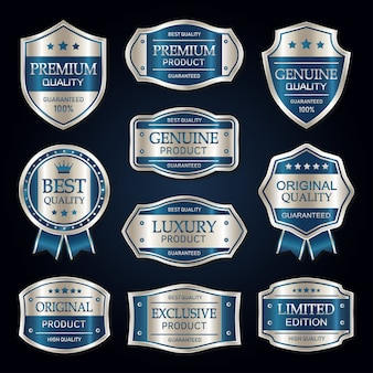 Niebieska i srebrna kolekcja premium vintage odznak i etykiet