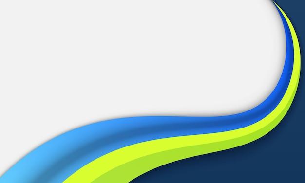 Niebieska i zielona fala z miejscem na tekst. wzór na baner biznesowy.