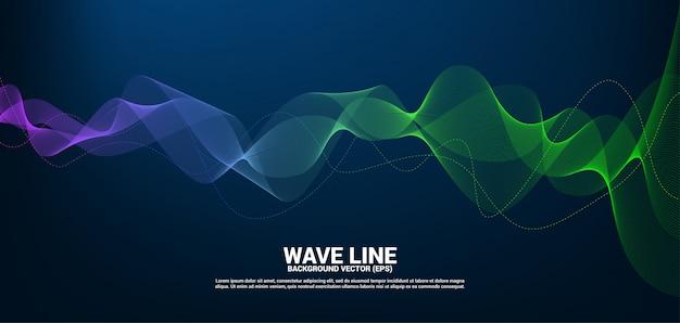 Niebieska i zielona krzywa linii dźwięku na ciemnym tle.