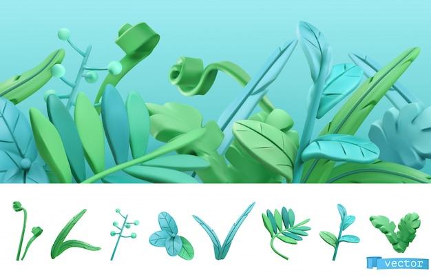 Niebieska i zielona trawa wiosna w stylu cartoon.