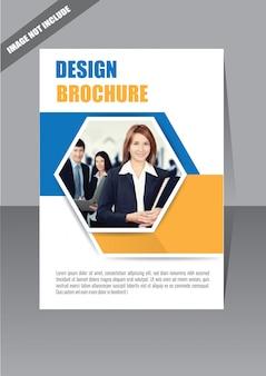 Niebieska i żółta broszura na okładce