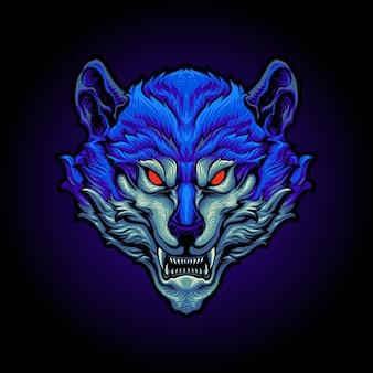 Niebieska ilustracja głowy wilka