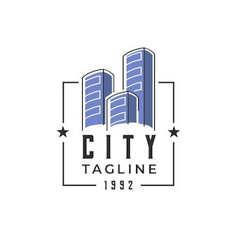 Niebieska ilustracja logo miasta nowoczesna