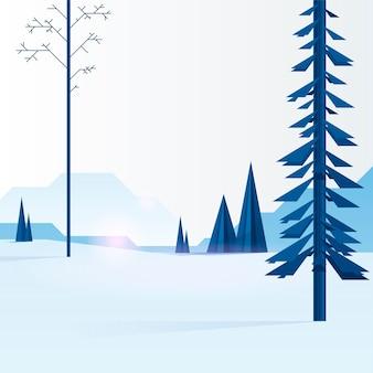 Niebieska ilustracja niebieskich drzew iglastych w zimowym lesie. trzciny w lesie