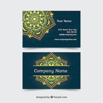 Niebieska karta firmowa z żółtą mandalą