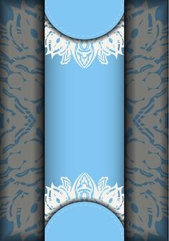Niebieska karta kolorów z białym wzorem mandali do projektowania.