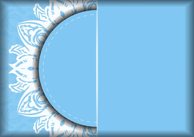 Niebieska kartka z białym ornamentem mandali dla twojej marki.