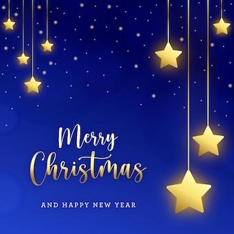 Niebieska kartka z życzeniami bożonarodzeniowymi ze złotymi gwiazdami