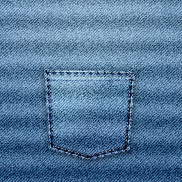 Niebieska kieszeń jeansowa.
