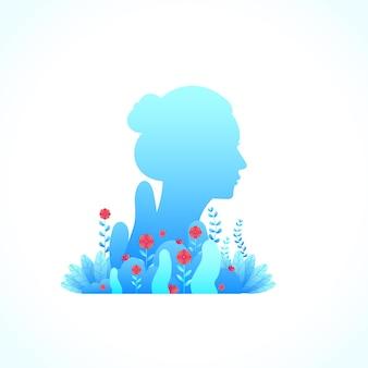 Niebieska kobieta kwiatowy piękny kwiat gradientowy styl