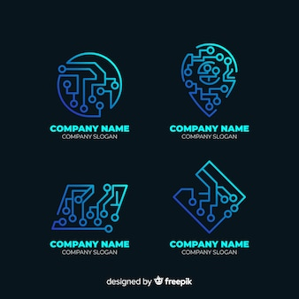 Niebieska kolekcja logo technologii gradientu
