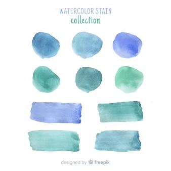Niebieska kolekcja realistycznych plam akwarela