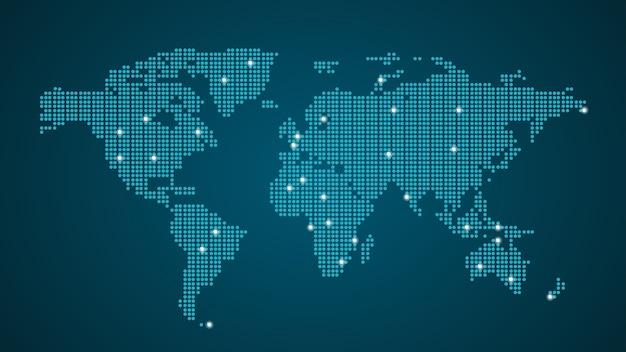 Niebieska kropkowana mapa świata