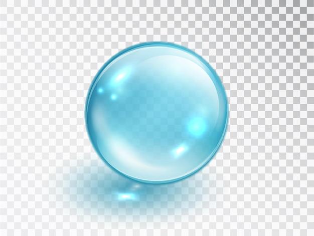 Niebieska kropla kolagenu na przezroczystym tle. wektor realistyczne niebieskie jasne krople surowicy esencji leku lub kolagenu.