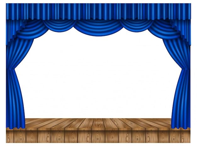 Niebieska kurtyna i drewniana scena