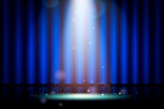 Niebieska kurtyna na scenie w teatrze, realistyczna dekoracja wnętrz aksamitna zasłony