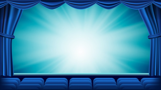 Niebieska kurtyna teatralna
