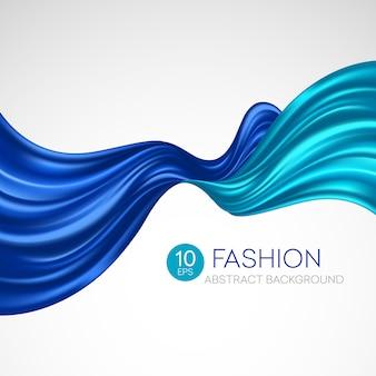 Niebieska latająca tkanina jedwabna. fashibackground