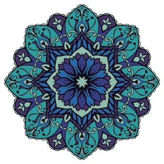 Niebieska mandala kwiatowa. element orientalny.