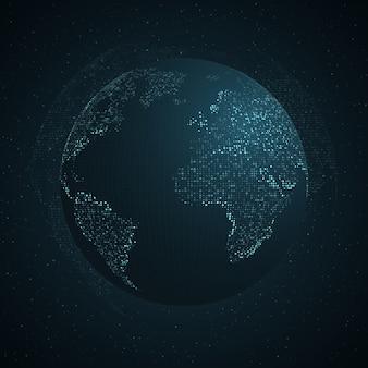 Niebieska mapa ziemi od punktów kwadratowych. globalne połączenie sieciowe, znaczenie międzynarodowe.