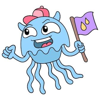 Niebieska meduza niosąca flagę, ilustracji wektorowych sztuki. doodle ikona obrazu kawaii.