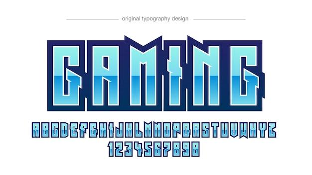 Niebieska metaliczna sportowa typografia gier