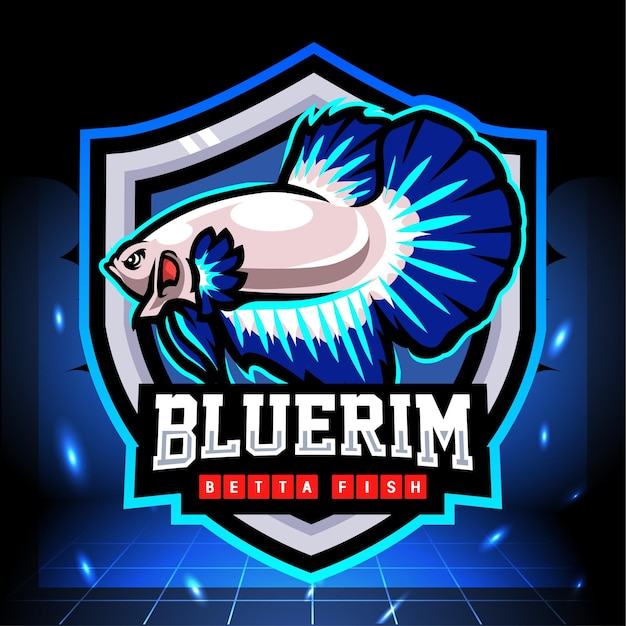 Niebieska Obręcz Maskotka Rybka Betta. Projektowanie Logo Esport Premium Wektorów