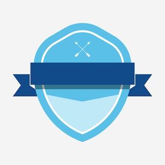 Niebieska odznaka ozdobiona banerem