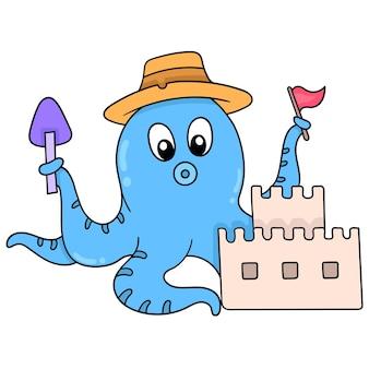 Niebieska ośmiornica jest na wakacjach na plaży, tworząc zamek z piasku, ilustracja wektorowa sztuki. doodle ikona obrazu kawaii.