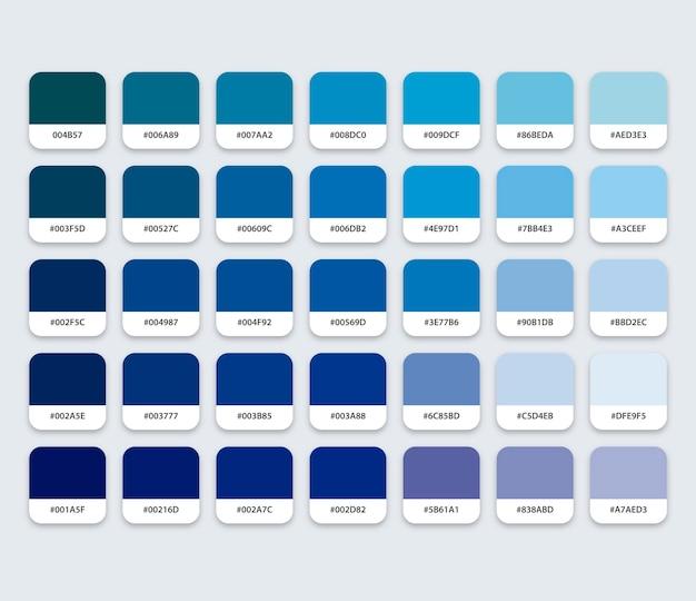 Niebieska paleta kolorów z hex