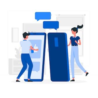 Niebieska para o stylu płaski rozmowy