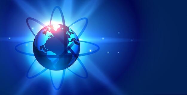 Niebieska planeta ziemia z tłem linii łączących