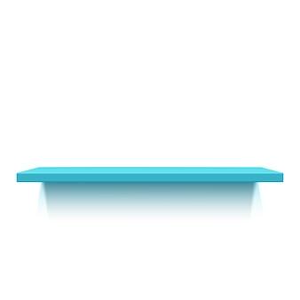 Niebieska półka realistyczna na białym tle. ilustracja