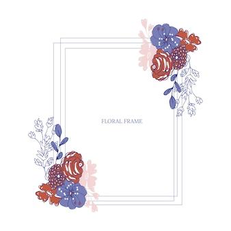 Niebieska ramka kwiatowa