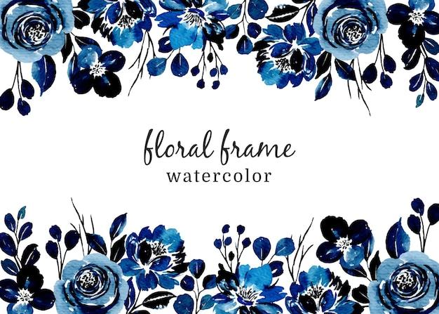 Niebieska ramka kwiatowy z akwarelą