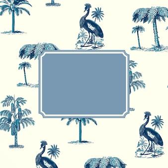 Niebieska ramka na tle wzoru żurawia