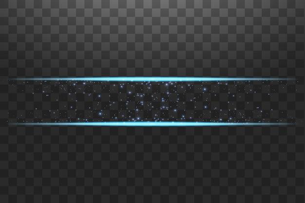 Niebieska ramka z efektami świetlnymi. lśniący gwiezdny pył