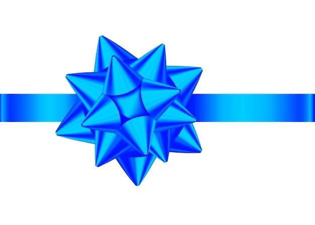 Niebieska realistyczna kokarda na prezent z poziomą wstążką na białym tle