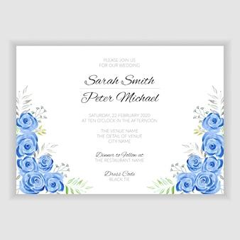 Niebieska róża kwiatowy akwarela ręcznie malowane karty ślubne