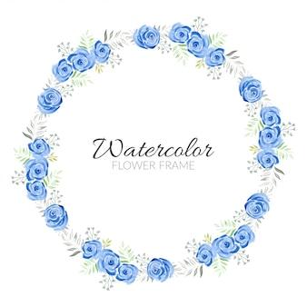 Niebieska róża kwiatowy akwarela ręcznie malowane wieniec koło